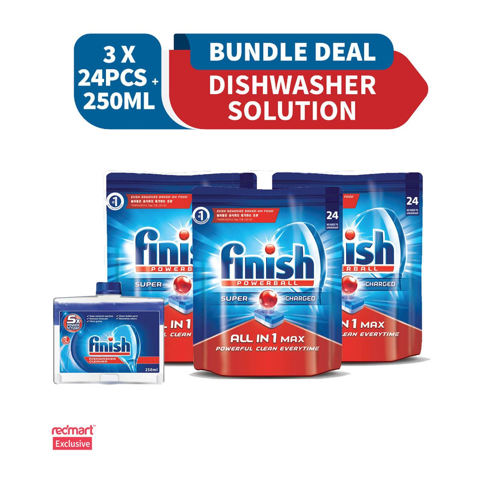 Finish All in One Max Super Charged Powerball Dishwasher Tablets Mega Pack And Finish Machine Dishwasher Cleaner