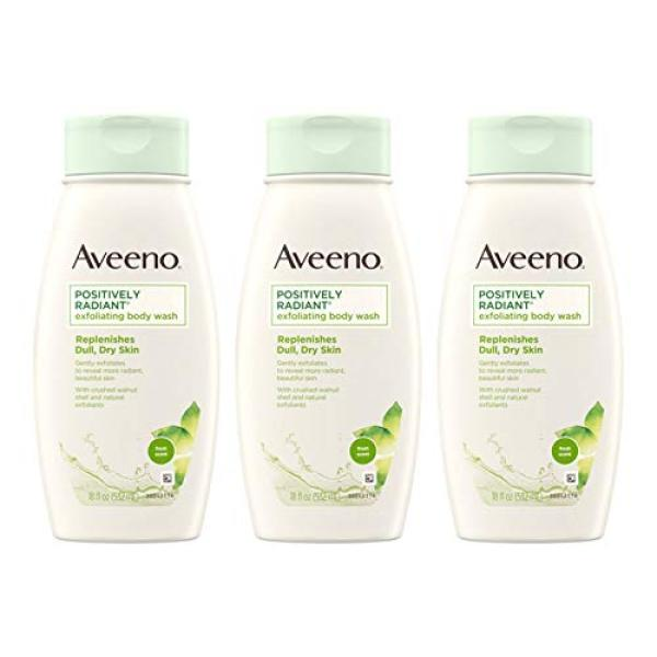 Buy (USA)Aveeno Positively Radiant Exfoliating Body Wash with Moisture-Rich Soy Complex & Crushed Walnut Shell for Dry, Dull Skin, Soap-Free, Dye-Free & Hypoallergenic Formula, 18 fl. Oz (Pack of 3) Singapore