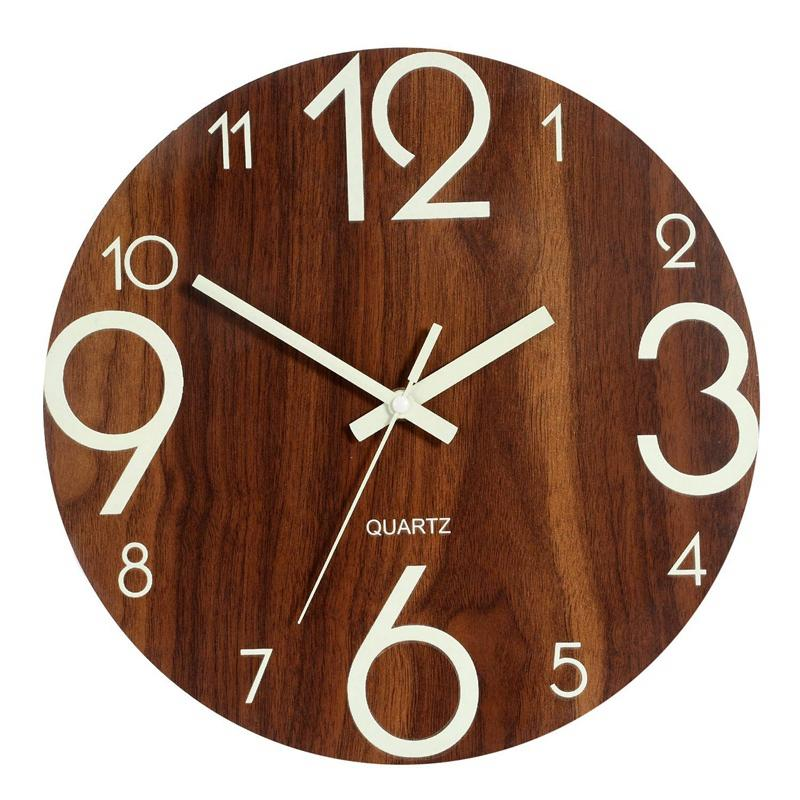Luminous Wall Clock,12 Inch Wooden Silent Non-Ticking Kitchen Wall Clocks With Night Lights For Indoor/Outdoor Living Room Bedroom Decor Battery Operated(Brown)