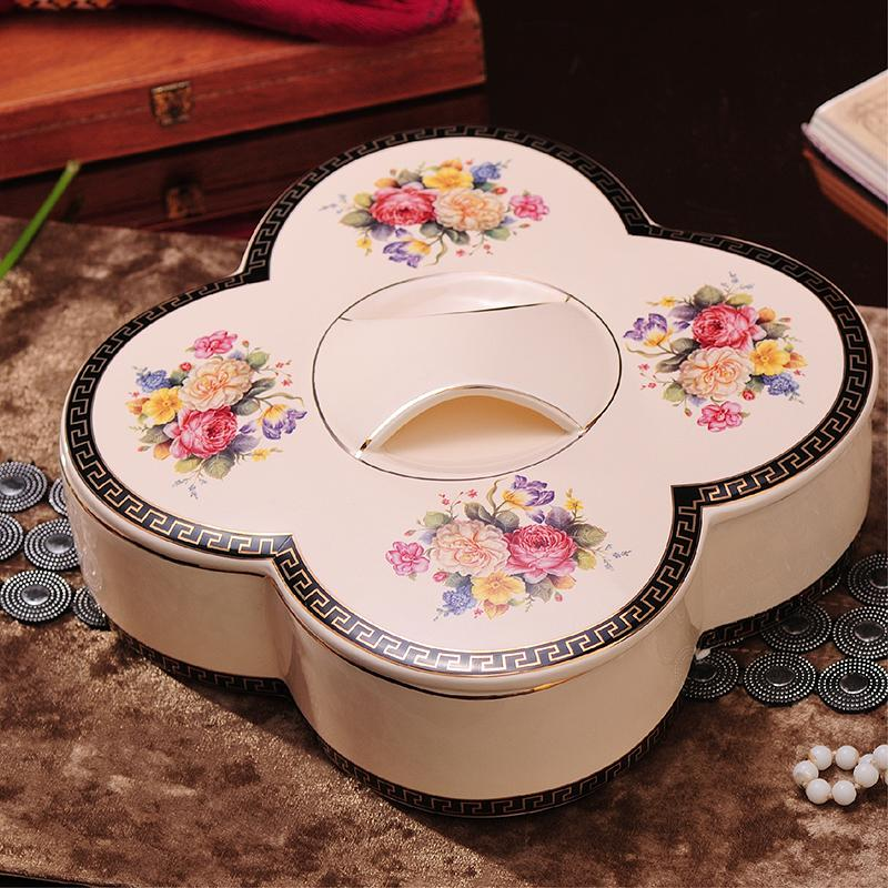 European Style Ceramic Dried Fruit Tray Fruit Plate Top Grade Wedding JmGo Snacks Candy Box Creative Dried Fruit Box Seperated with Lid