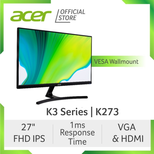 [2021 MODEL] Acer K3 Series K273 27 Inch FHD IPS Monitor with  1ms Response Time