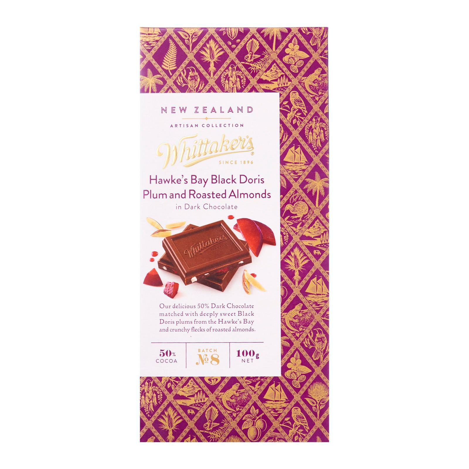 Whittaker's Hawke's Bay Black Doris Plum and Roasted Almonds Chocolate Artisan Collection