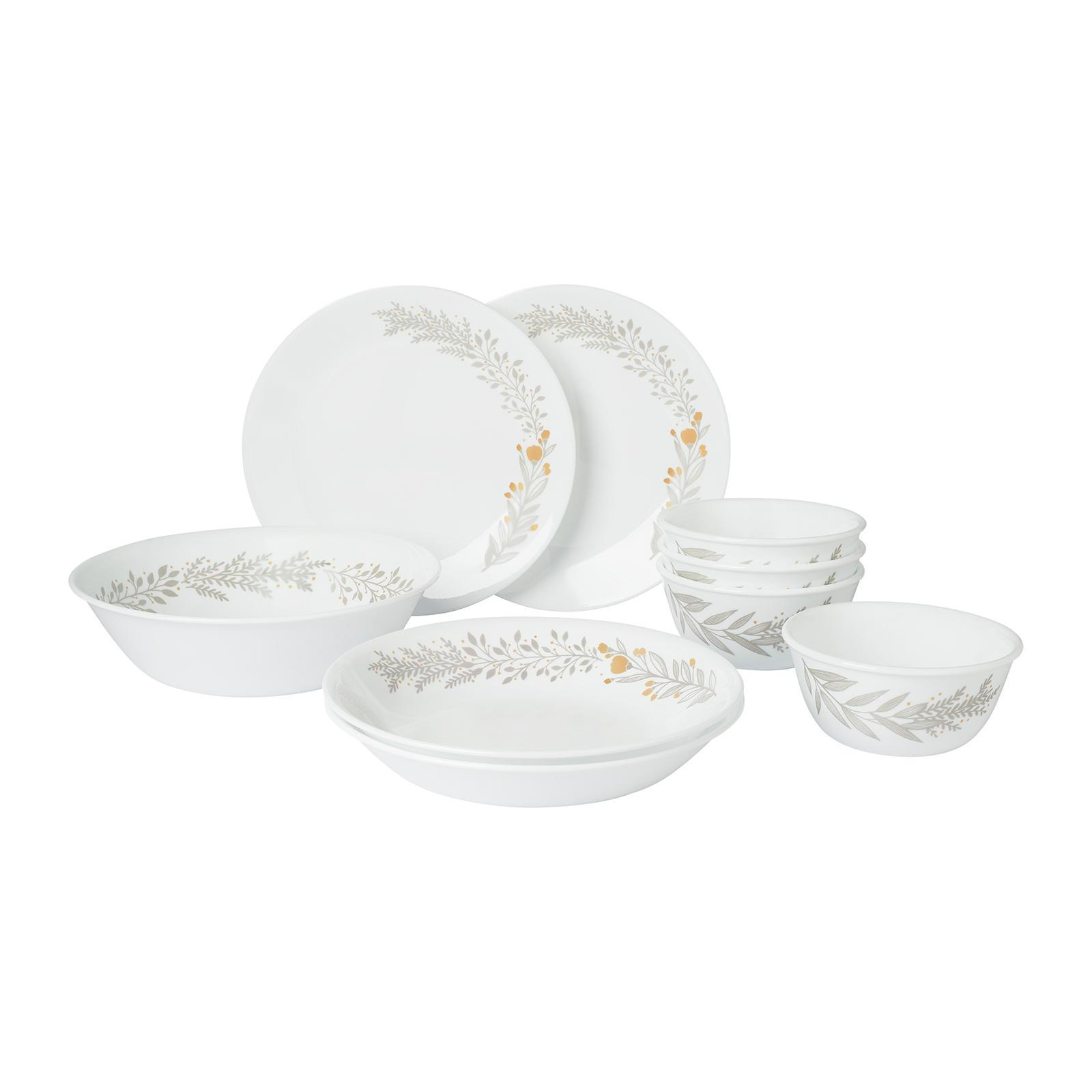 Corelle 9 PCS Dinner Set (Design: Silver Crown)