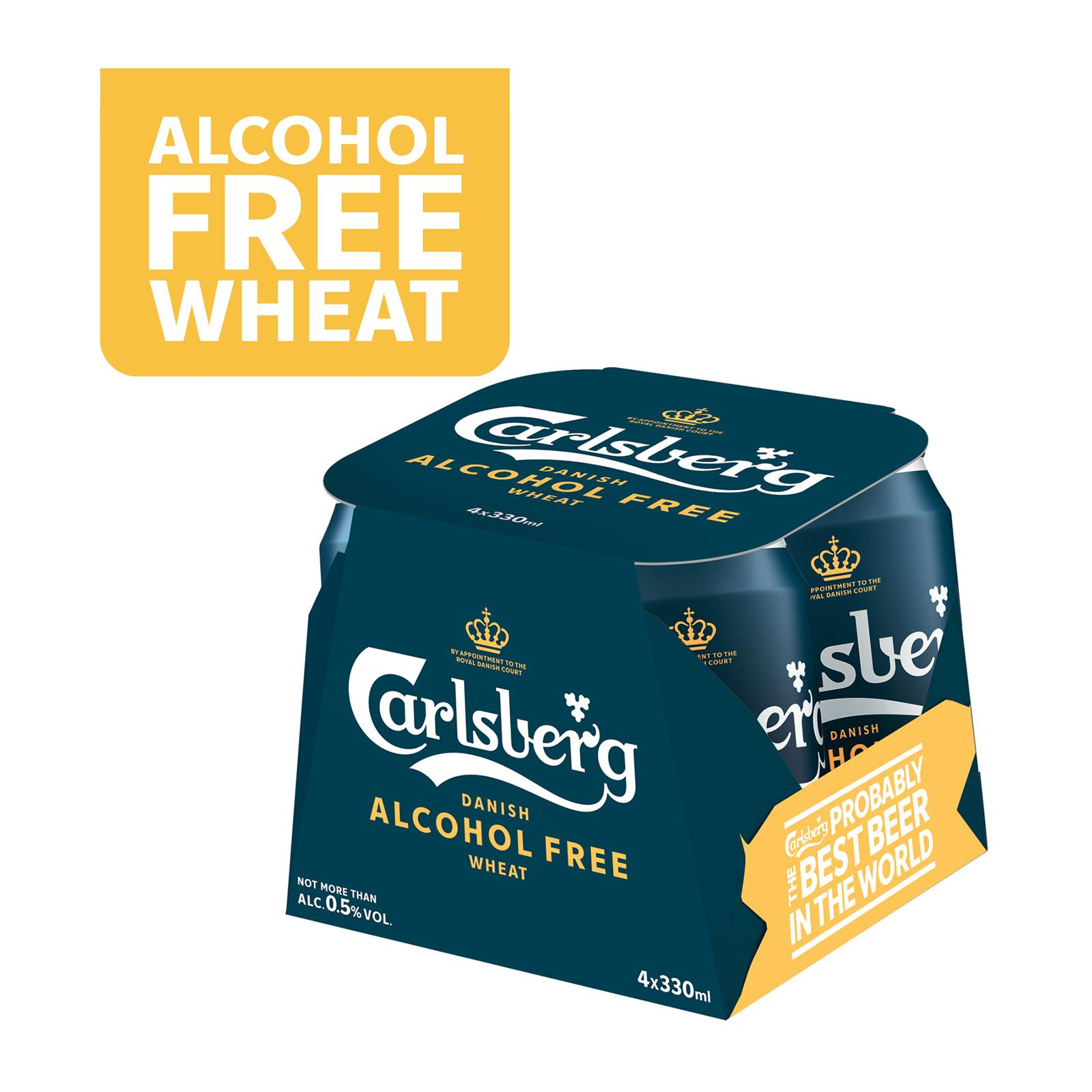 Carlsberg Alcohol Free Wheat Beer Can 330ml (Pack of 4)