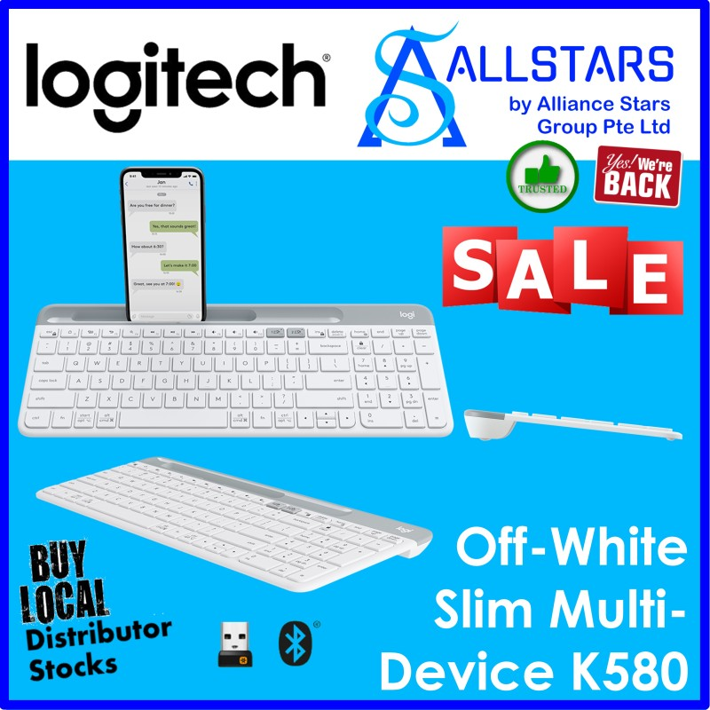 (ALLSTARS : We are Back PROMO) Logitech K580 Slim Multi-Device Wireless Keyboard (Off-White: 920-009211 / Graphite: 920-009210) (Warranty 1year with BanLeong) Singapore