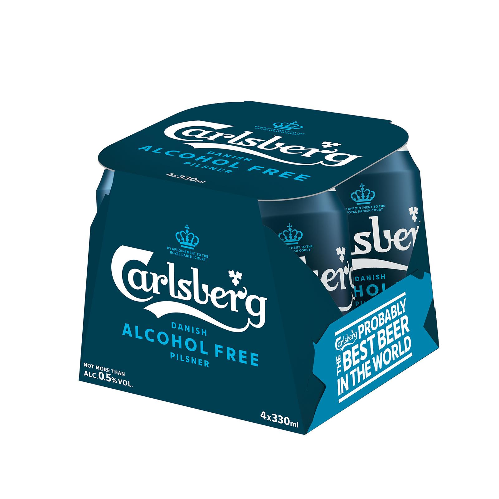 Carlsberg Alcohol-Free Pilsner Beer Can 330ml (Pack of 4)