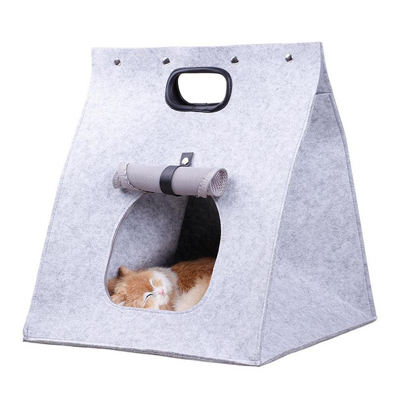 Pet Cat Carrier, Folding Portable Wool Felt Cave Bed Travel Bag For Cat Puppy 3 In 1 Multifunctional Nest Felt Walking Bag By Ralleya.