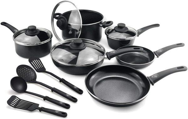 GreenLife Soft Grip Diamond  14 Piece Healthy Ceramic Nonstick Cookware Kitchenware Cookware Pot Pan Saucepan Frying Fry Pan Skillet Kitchen Utensil Pots and Pans Set Singapore