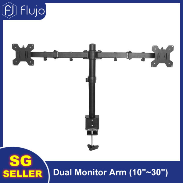 Flujo Dual Monitor Arm 10 to 30inch LCD Screen Desk Mount Stand, Fully Adjustable Height, Tilt, Swivel, Rotation with C-Clamp, VESA 75mm/100mm, Max 10kg Per Screen