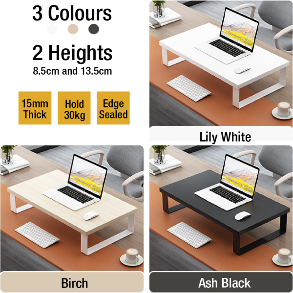 (Ready Stock in SG) Wooden Computer Monitor Printer Laptop TV Riser Stands Shelf Organizer