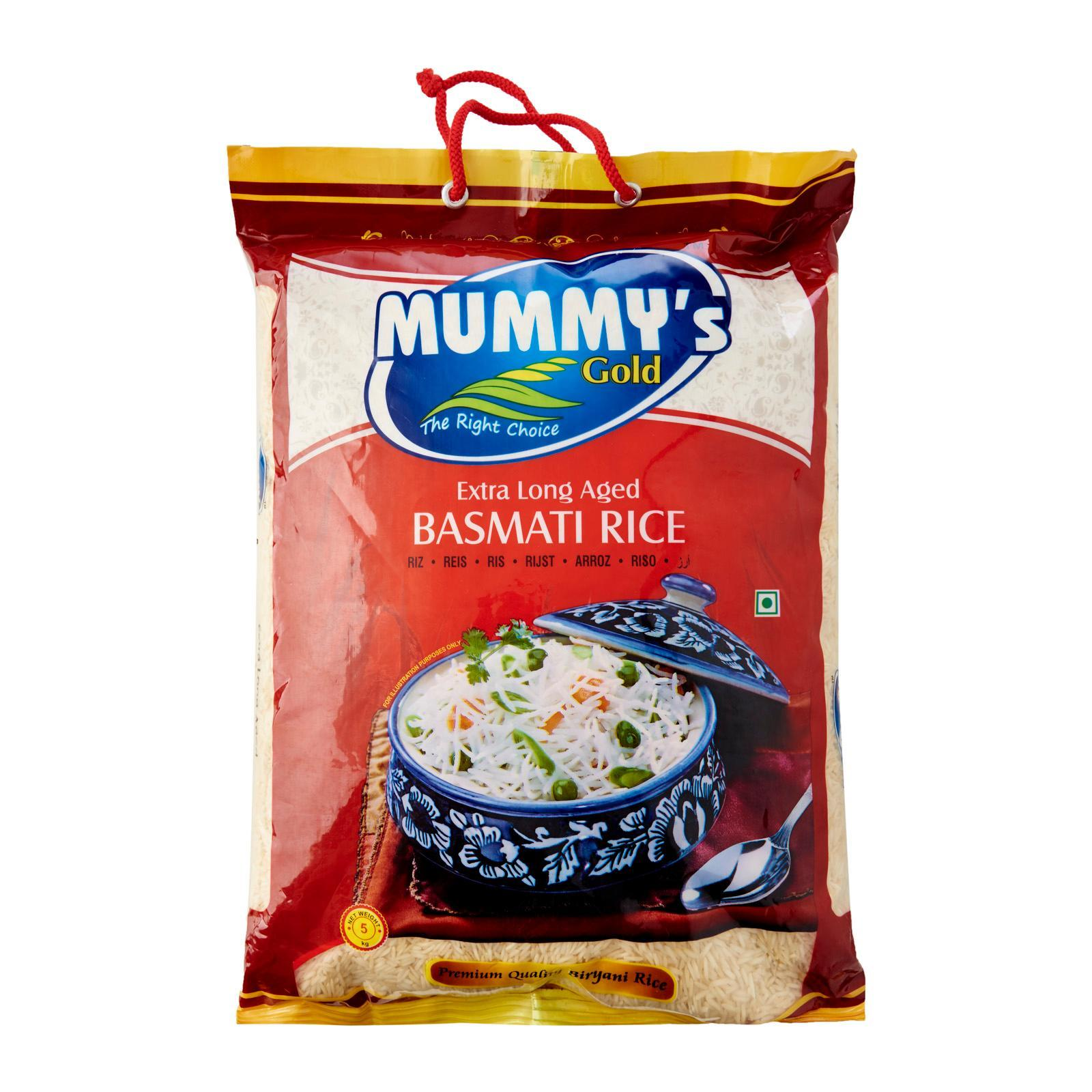 Mummys Gold Basmati Rice 5kg Extra Long, Aged, Healthy, Handpicked, Pure Biryani Rice, Indian Food By Merlion Mart.