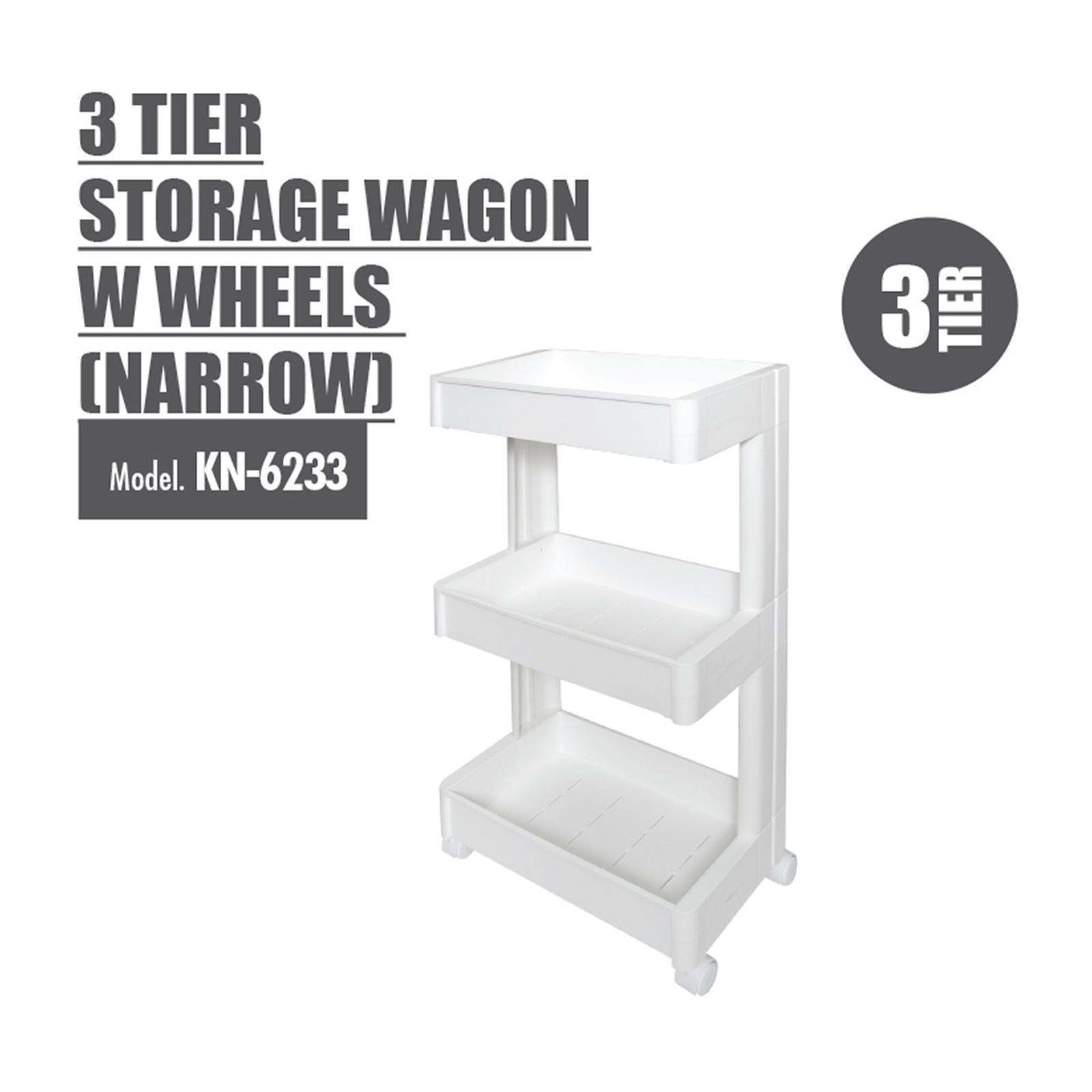 Houze 3 Tier Storage Wagon With Wheels - KN-6243-WHITE