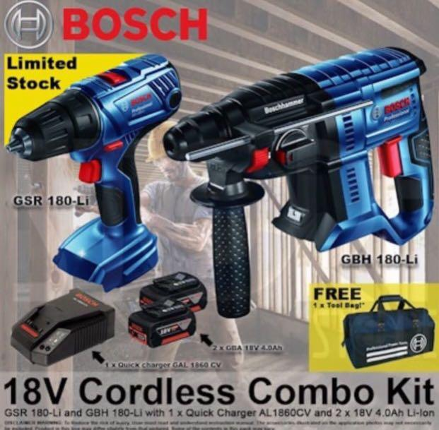 BOSCH 18V COMBO KIT SET GBH 180-LI + GSR 180-LI / COMES WITH 2X 4.0AH BATTERIES / FREE TOOL BAG