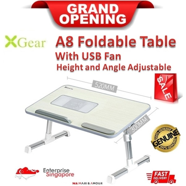 ★ XGear A8 Foldable, Portable, Adjustable Height and Angle Laptop Desk with USB Fan, Study Stand, Bed Table, Standing Desk, Ergonomic Office Standing Workstation with USB Fan ★ 520mm x 300mm x 9mm ★ SG Ready Stock ★