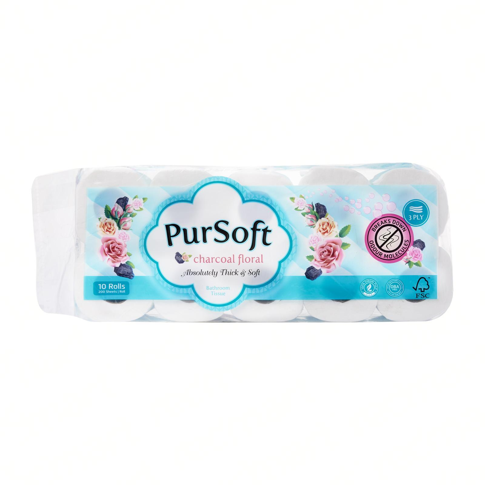 PurSoft Charcoal Floral 3-Ply Toilet Tissue - 10 Rolls