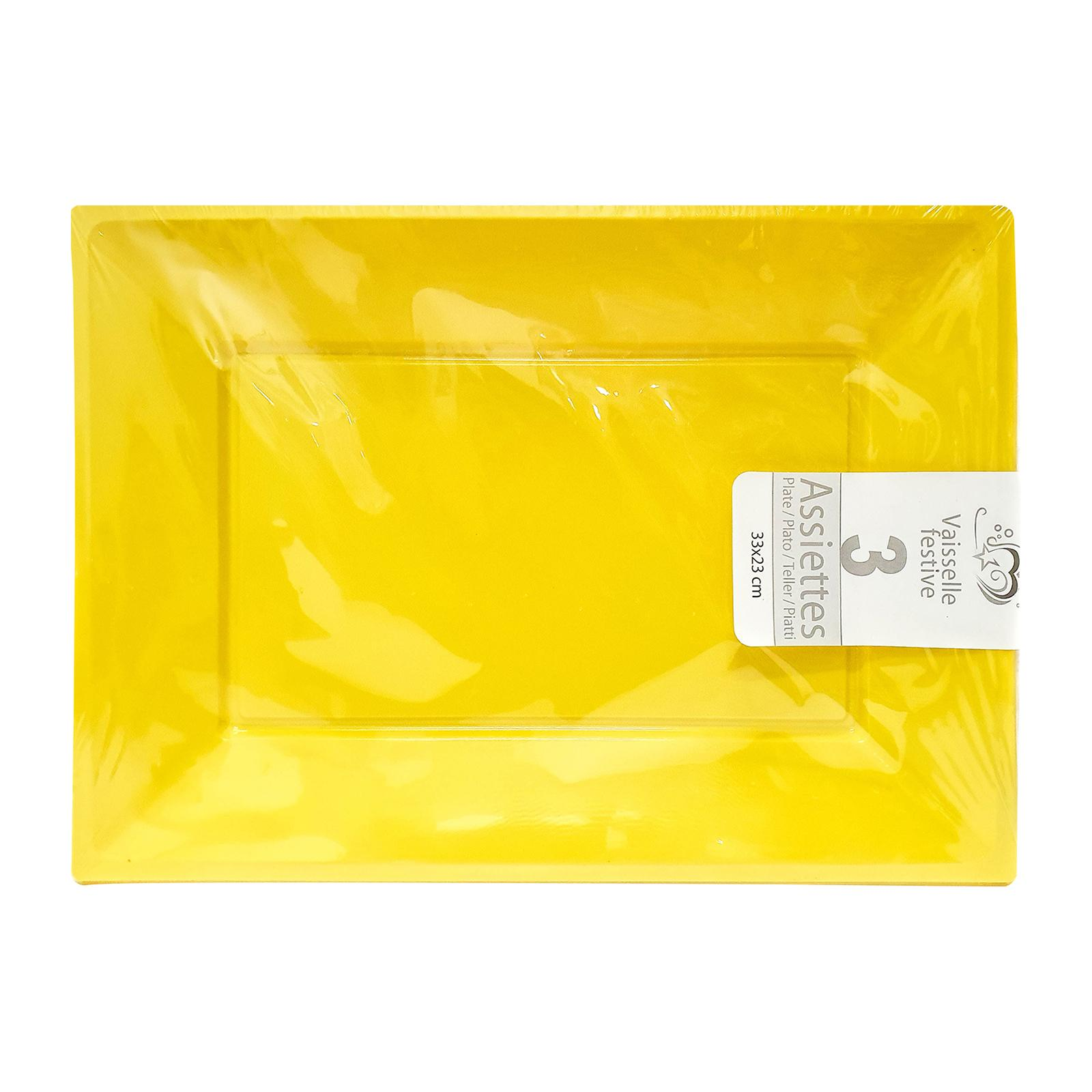 CGS Rectangle Plastic Plates - Yellow