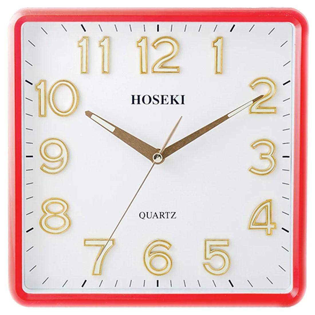 Hoseki Quartz H-9210R H-9210 Red Square Analog Wall Clock