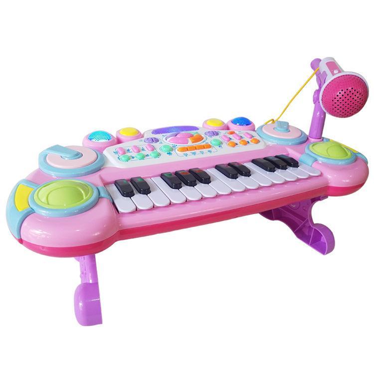Instrumen Elektronik Pendidikan Anak-Anak Pendidikan Awal 6032a Elektronik Band Mikrofon Pengisian 24 Kunci Kunci Piano By Xueqingxi.