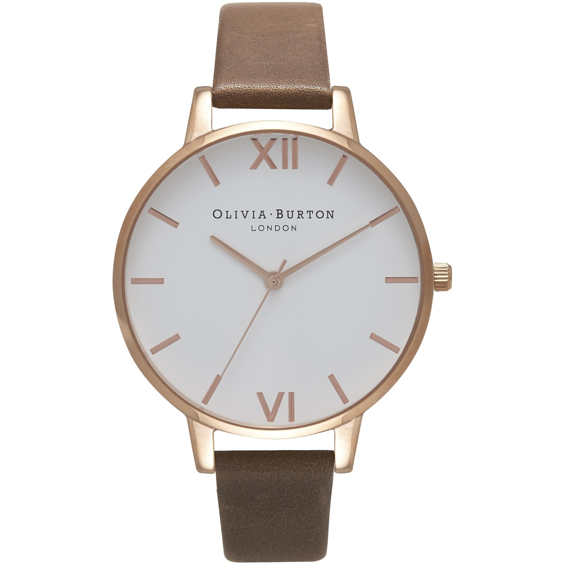 Olivia Burton White And Rose Gold 38mm Dial Brown Leather Strap Womens Quartz Watch Ob16bdw20 By Watch Centre.