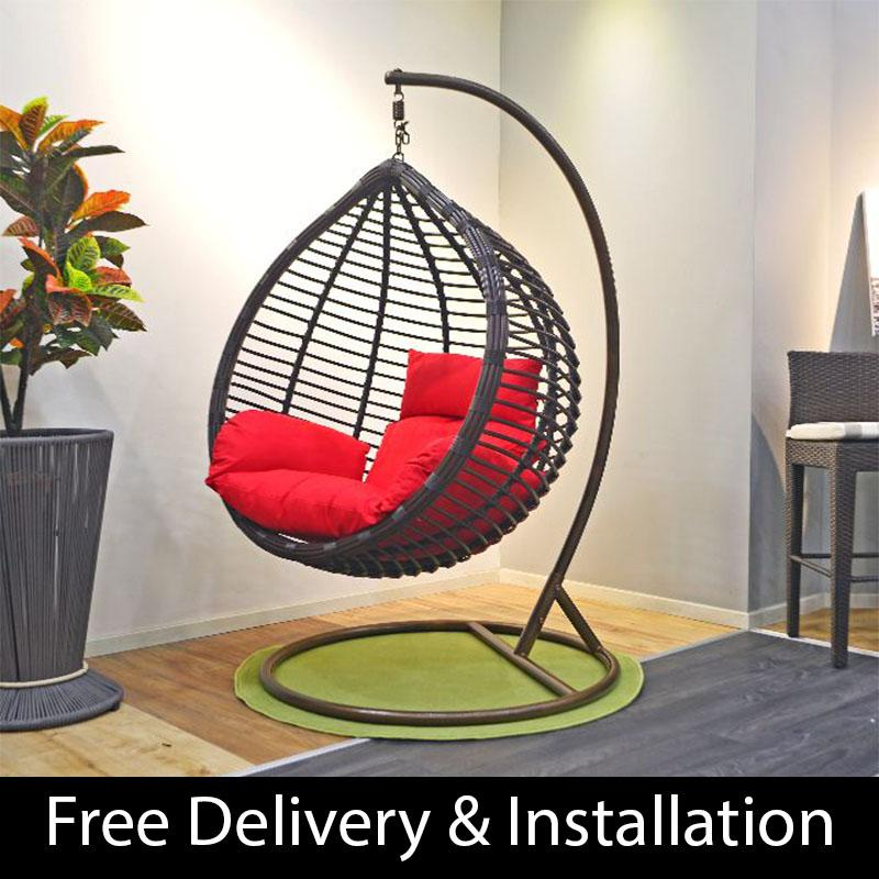 Home Factor Swing Chair with cushions S619 Brown(Outdoor Seating / Swing Chair)  (Free Delivery & Installation) - Balcony Swing chair/Relax Chair/ Lounge Chair/Outdoor Furniture (SG)