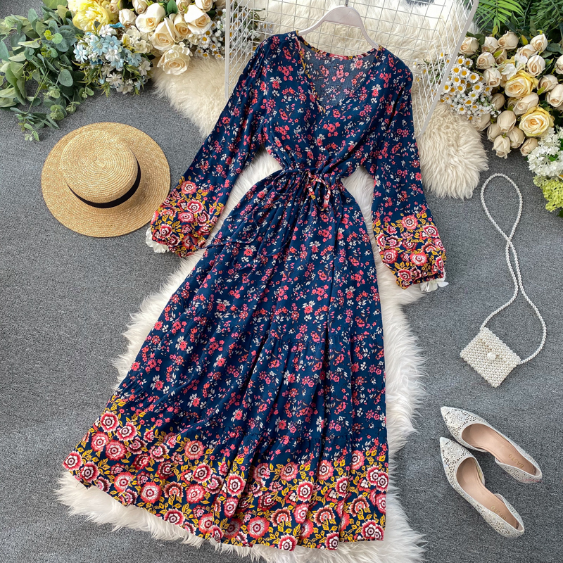 Bohemia Phong Cách Quốc Gia Du Lịch Váy Phong Cách Retro Mốt Thời Thượng In Hoa Cổ Chữ V Dài Tay Bó Eo Tôn Dáng Qua Đầu Gối Đầm Nữ