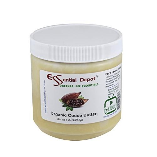 Essential Depot Cocoa Butter - Food Grade - Kosher - Raw - Unrefined - 100% Pure - Natural Cocoa Scent - 1 Lb - Used In Creams, Lotion Bars And Sticks, Lip Balms, Body Butters And Many Other Skin Care Products.