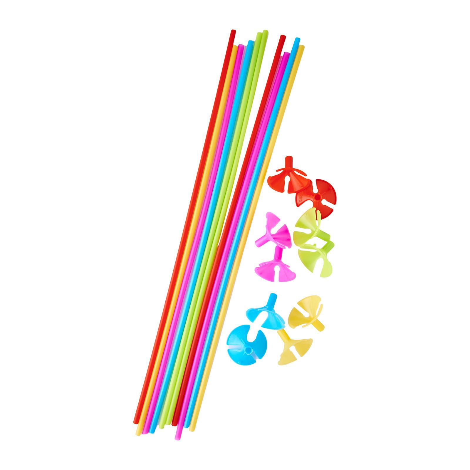 MTrade Balloon Stick And Cup Assorted Colors 10 Sets/Pack