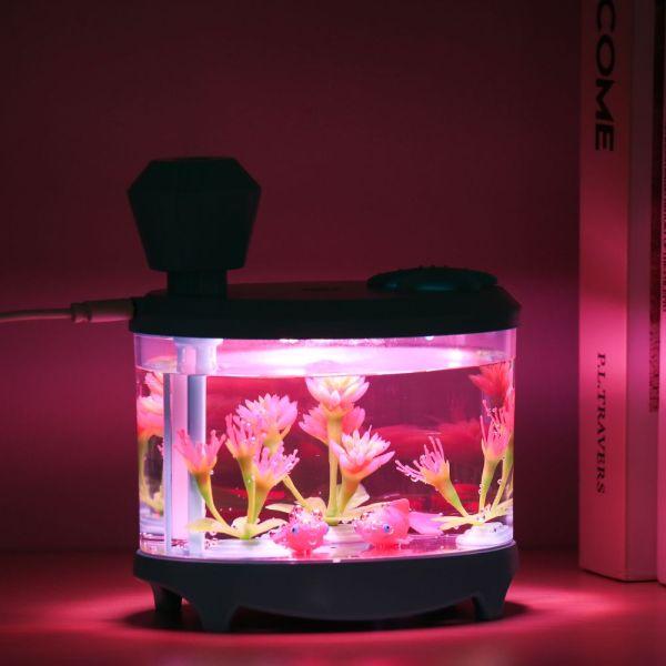 BGTDWU Sáng tạo Đèn ngủ USB Sáng Xịt thơm Bể cá Máy giữ ẩm Đèn bể cá Máy lọc không khí