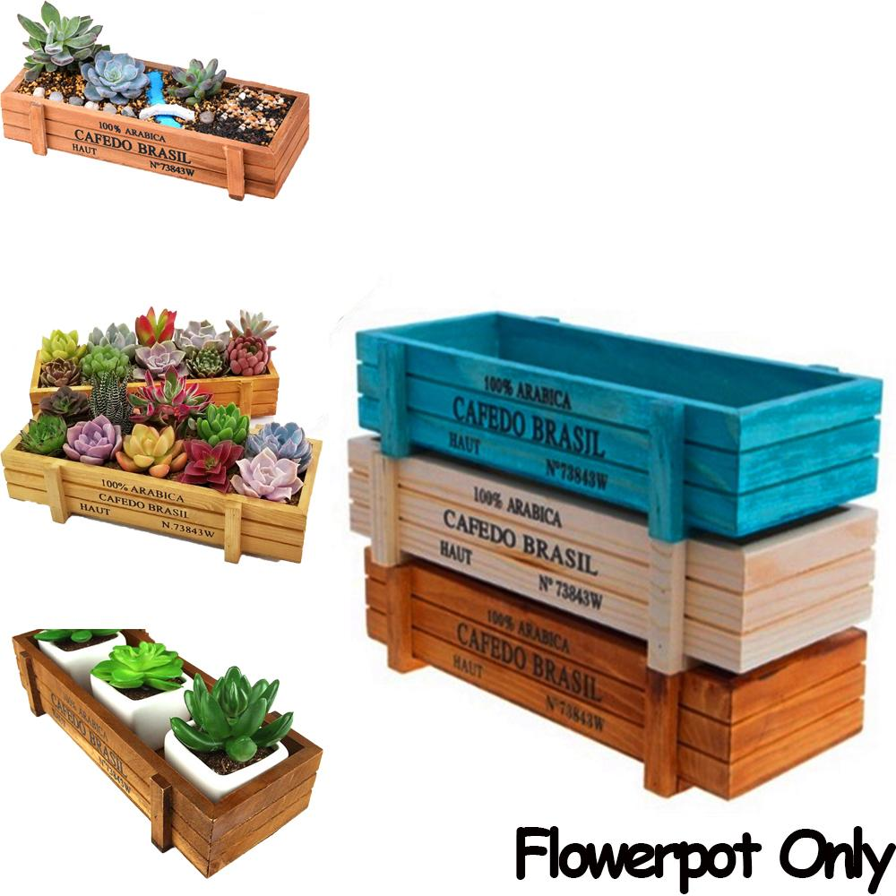 1 PC Tools Trough Decorative Pots Planter Succulent Boxes Vintage Crates Wood Flowerpot Rectangle Vase
