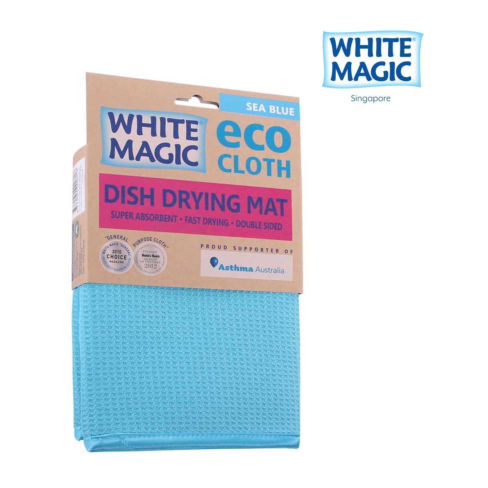 White Magic Dish Drying Mat Sea Blue