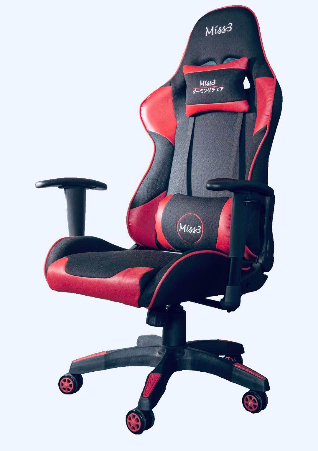 1 Year Warranty / Free Installation - Miss3 Proffesional Gaming Chair GC07 - Cotton with Leather , 180 degree lean back function Singapore