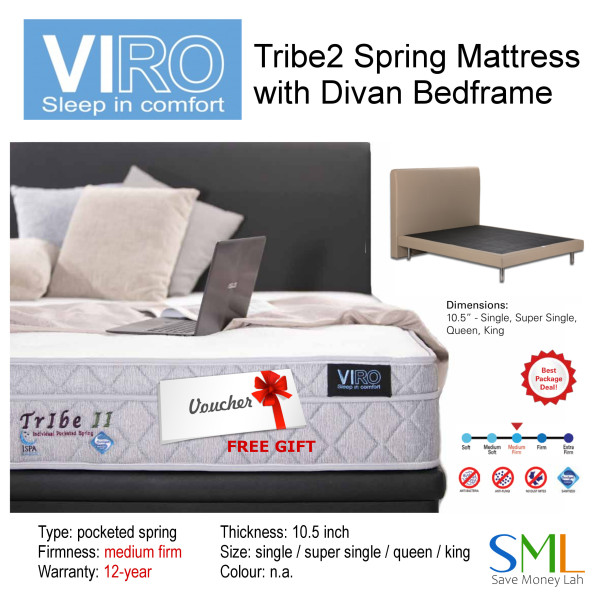 Tribe 2 Spring Mattress (11 inches) with Divan Bedframe