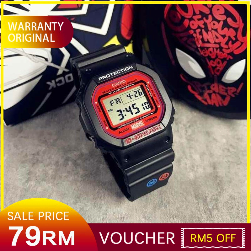 (100% Original)special Dw5600 56bb Marvel Avengers Spiderman Mens Sport Digital Watch Voucher Off Discount 200m Water Resistant Shockproof And Waterproof World Time Led Auto Light Wist Sports Watches With 2 Year Warranty.