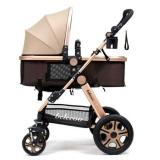Best Rated Belecoo Gold Frame German Design Stroller Khaki Brown