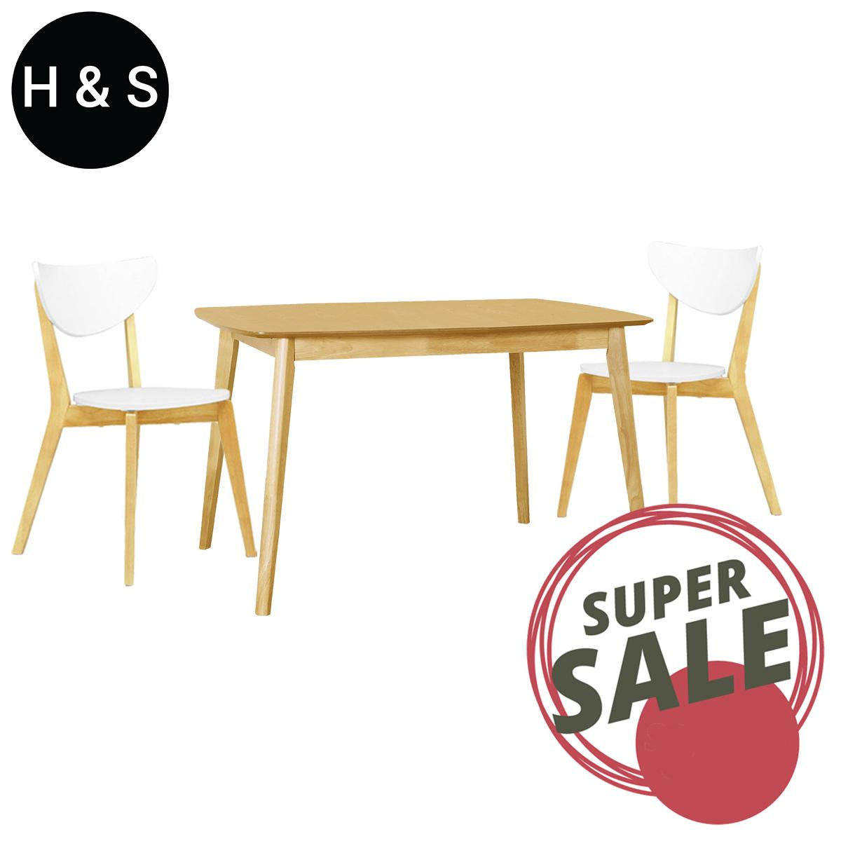 Kendal Oak 1.2m Dining Table + 2 Dining Chair. (1+2) Quality Dining Set