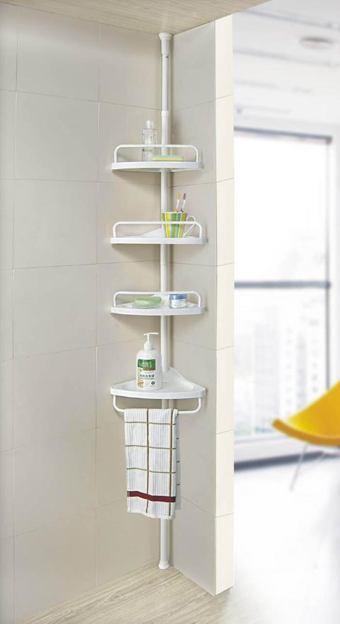 Four-floor corner rack perforation-free bathroom kitchen retractable corner storage rack-intl