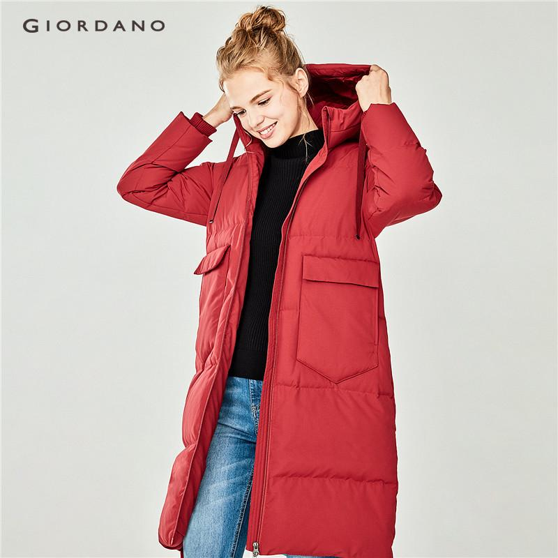 Giordano Women Machine Washable Hooded Long Down Jacket [free Shipping] 05378714 By Giordano Official.
