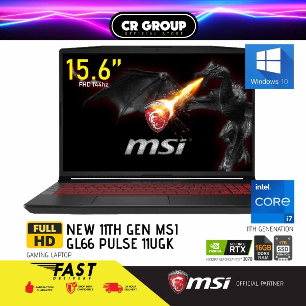 [Same Day Delivery] MSI i7 GL66 Pulse Series 144Hz Refresh Rate 15.6 Full HD Gaming Laptop 11UGK| 11th Gen i7-11800H + HM570 Tiger Lake | 16GB RAM | 1TB SSD Gen3x4 | NVIDIA Geforce RTX 3070