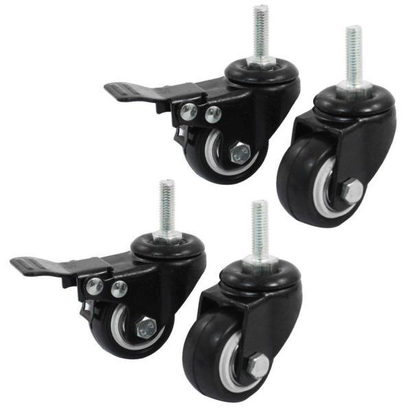 New Shopping Wheel Trolley Brake Swivel Caster, 1.5-Inch, Black, 4-Piece