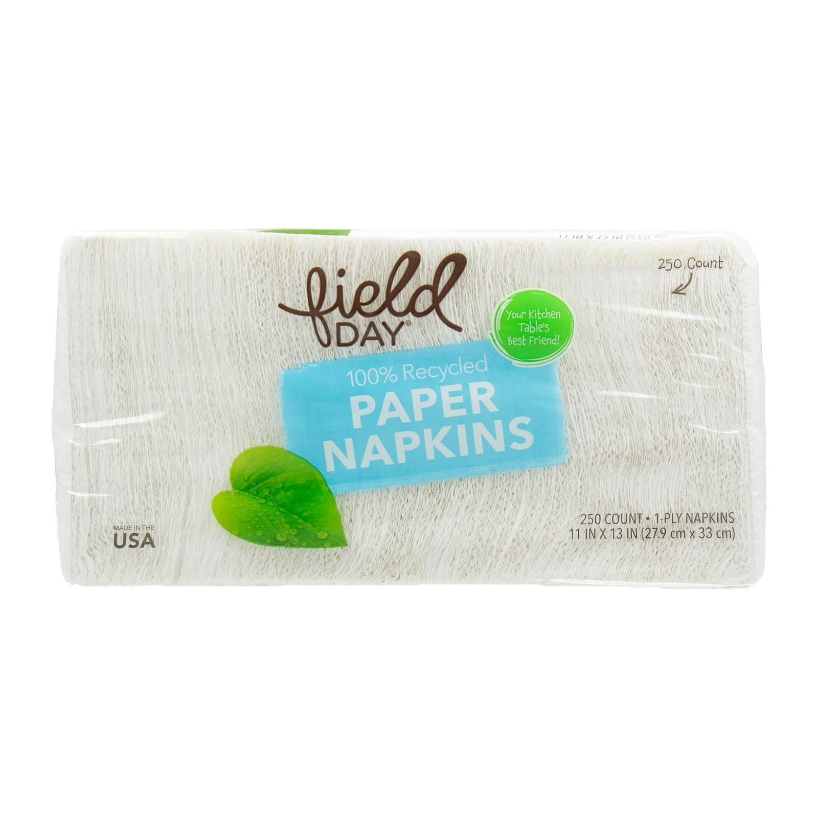 Field Day 100 Percent Recycled White Paper Napkin-250 Count Per Pack - By Wholesome Harvest
