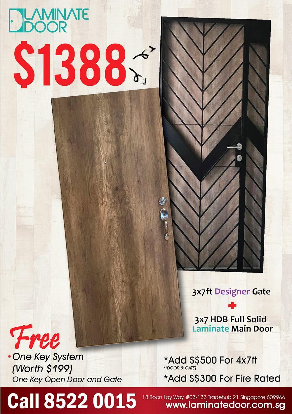 HDB Solid Laminate Main Door + Mild Steel Gate Promotion Package (3x7ft)