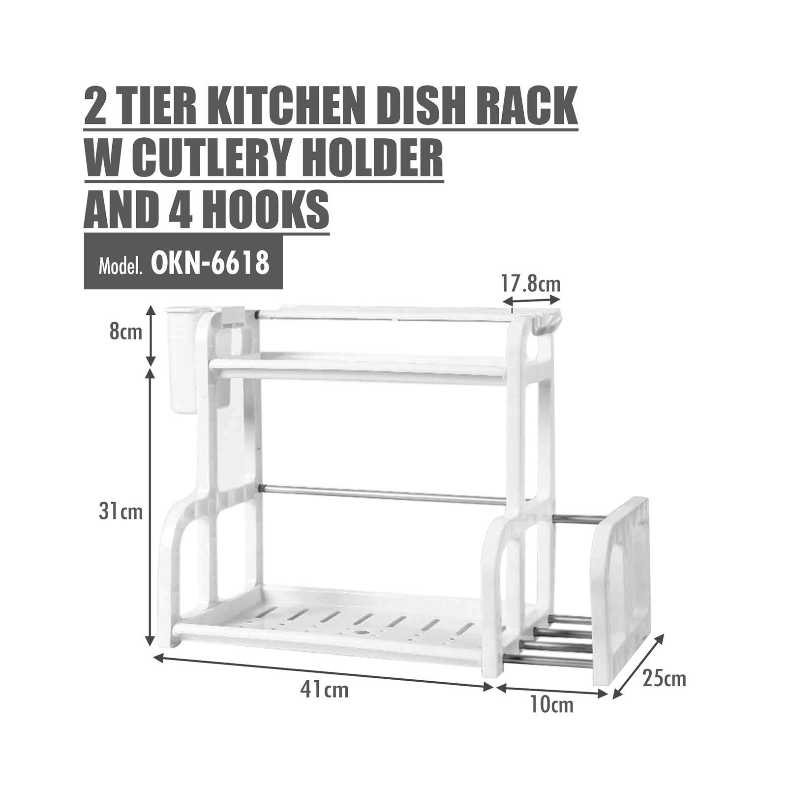 HOUZE 2 Tier Kitchen Dish Rack With Cutlery Holder And 4 Hooks