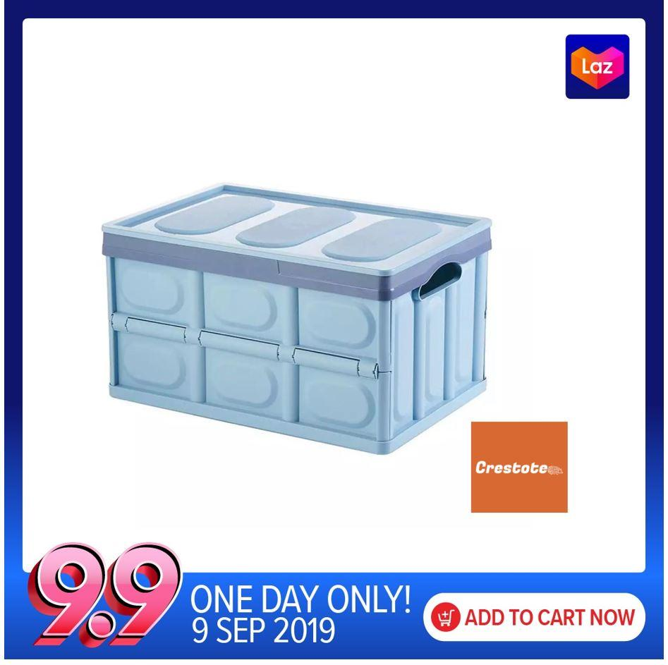 Collapsible Stackable Organizer  Foldable Plastics Storage Box with Lid 56L