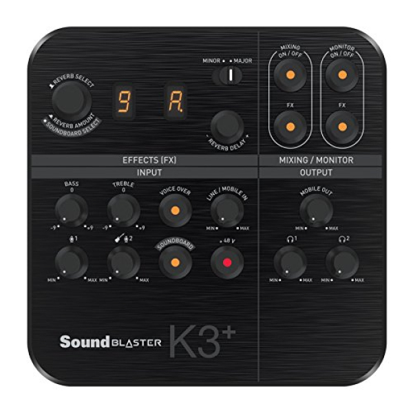 Creative Sound Blaster K3+ USB Powered 2 Channel Digital Mixer AMP/DAC/, Digital Effects XLR Inputs with Phantom Power / TRS / Z Line Inputs Singapore