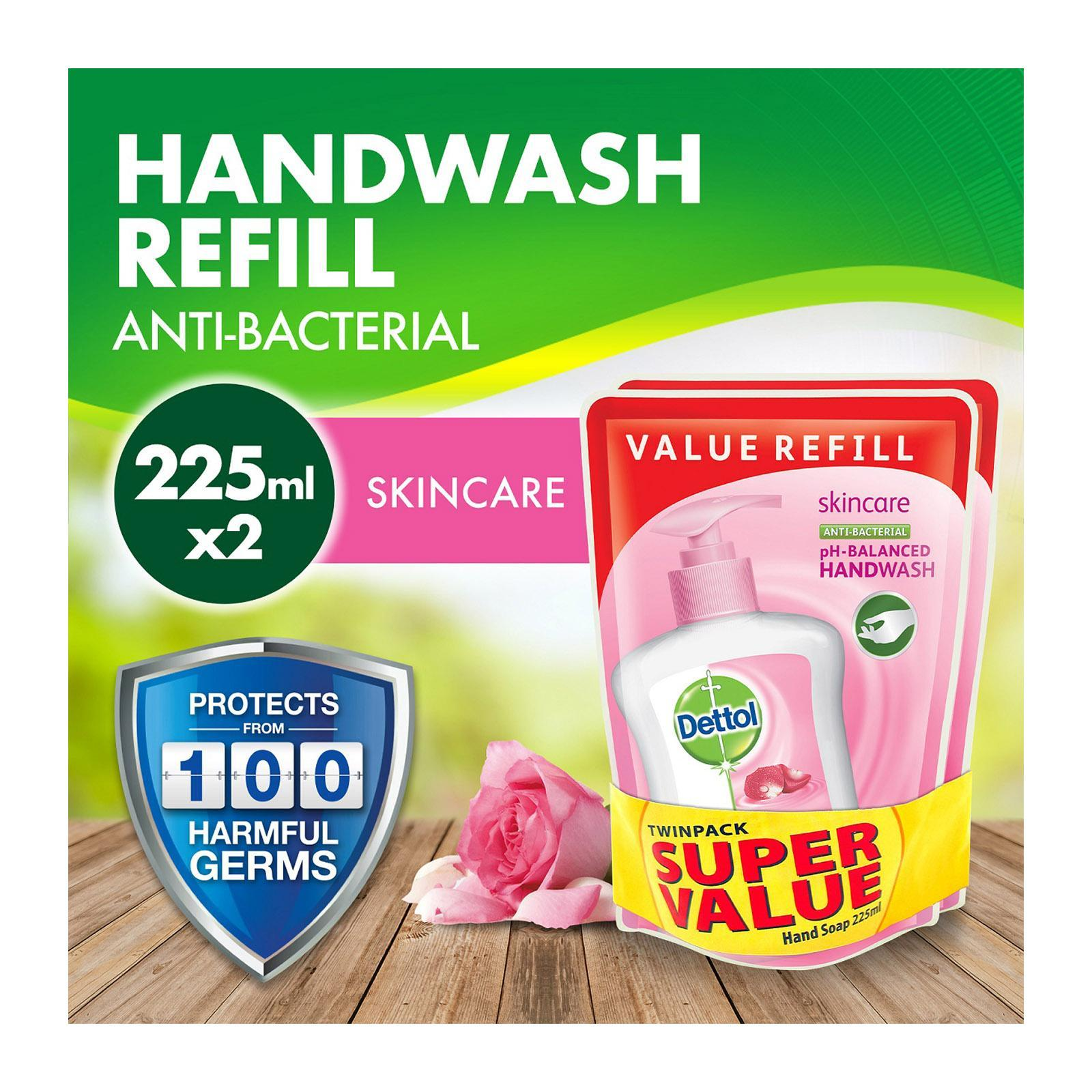 DETTOL skincare liquid hand wash twin pack refill pouch 225ml x2