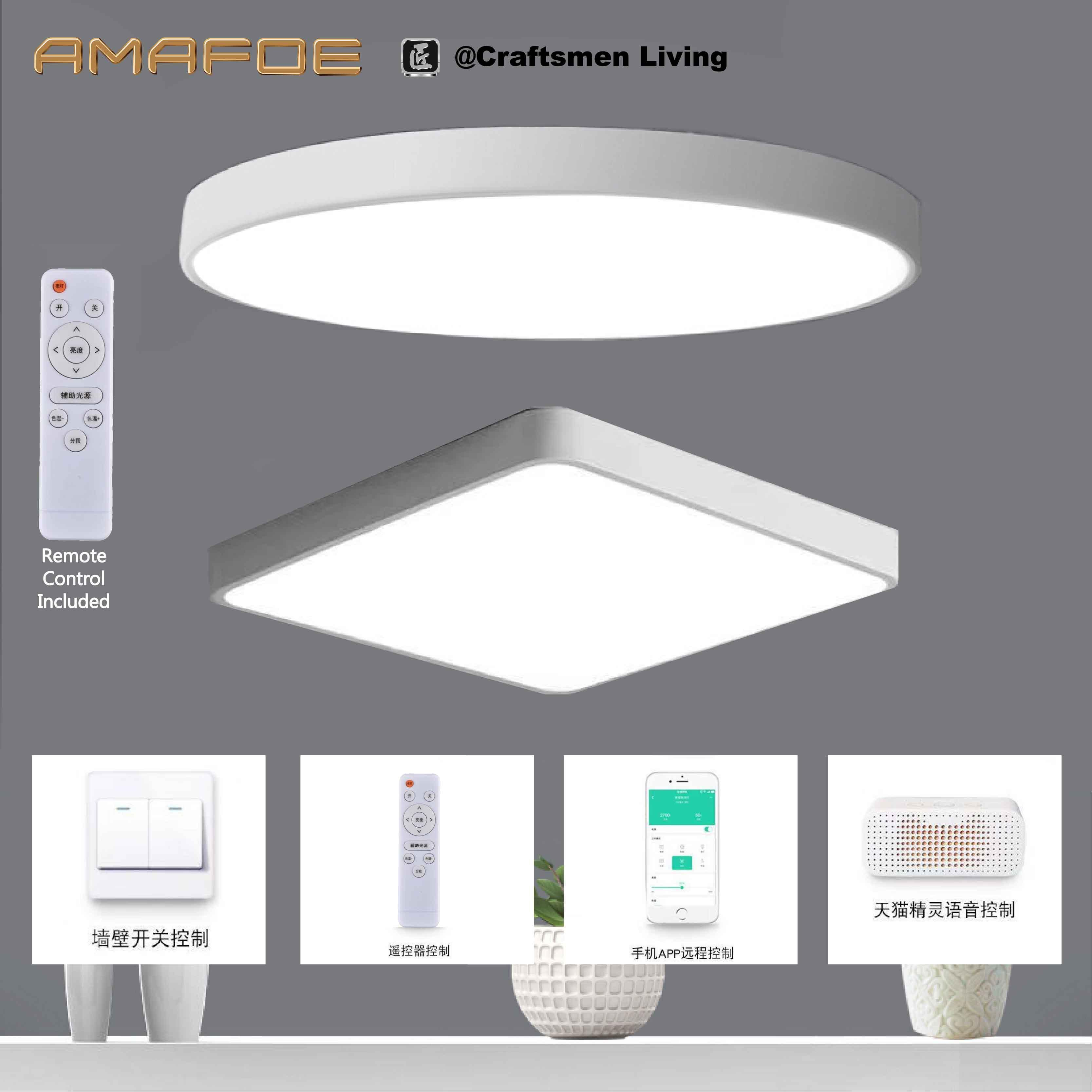 AMAFOE Smart LED Ceiling Light (Round White - 40cm*5cm - 36W - Remote Control Included - 3-Color Polarless Dimming - 4 Mode Control (Wall Switch, Remote, TMALL Genie Mobile Apps & Voice works with 2.4GHz WiFi TMALL Genie 天猫精灵 AI Smart Speakers)