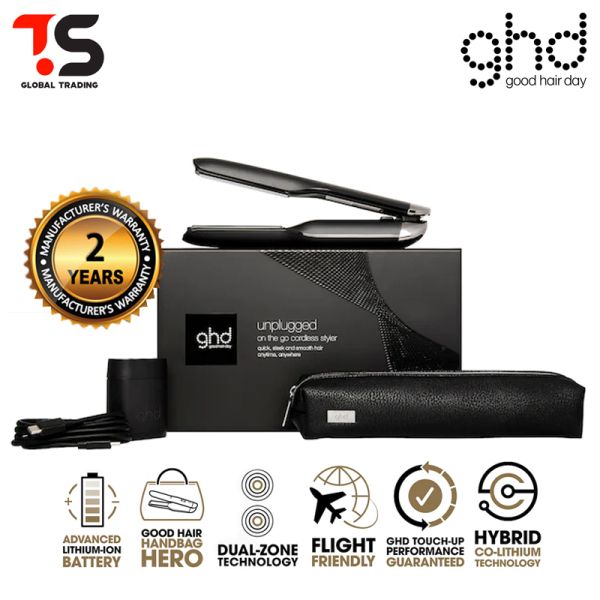 Buy FREE Heat Resistant Styler Bag! GHD Unplugged Cordless Black Styler ( 2 Years Warranty ) - Wireless Straightener, 3 Pin Plug & Type C Charges Singapore
