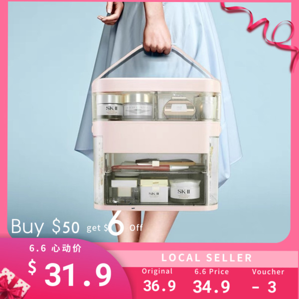 Buy Multiple LED Mirror Cosmetics organizer jewelry organizer necklace earrings Makeup box Transparent Storage Singapore