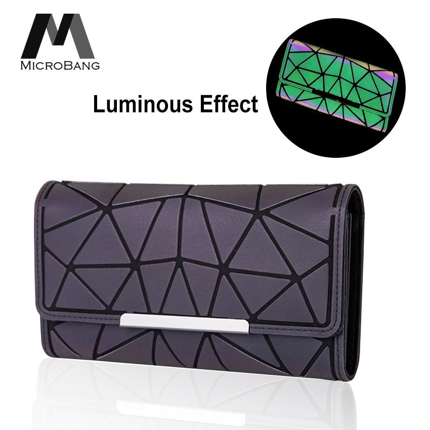 8dc7c294f MicroBang Women Long Wallet Geometric Colorful Luminous Splicing Card  Holders Large Capacity Long Female Purse Fashion