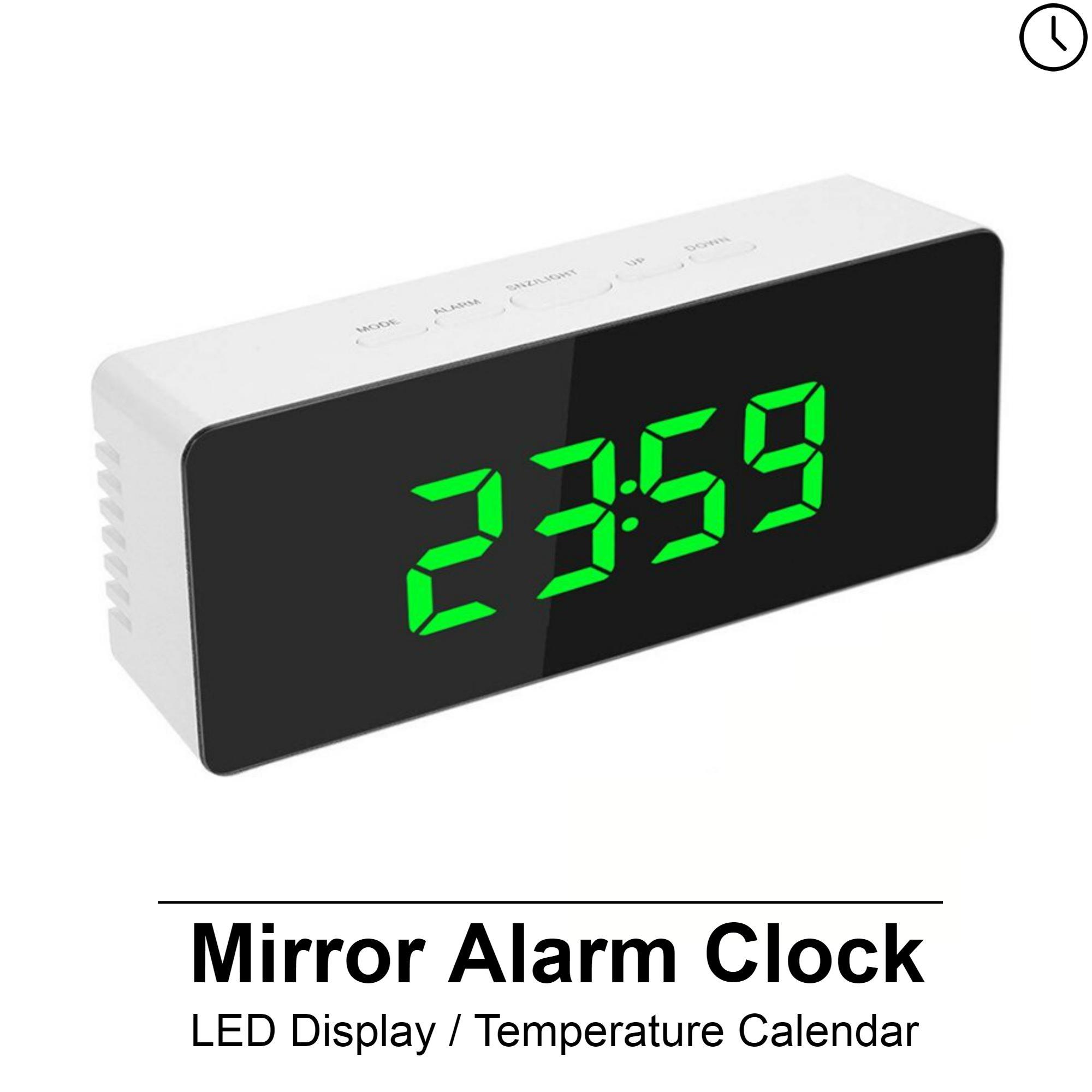 Digital Mirror LED Display Alarm Clock Temperature Calendar USB/AAA Powered Electronic Multifunction Snooze Desk Clock (SG Warranty)